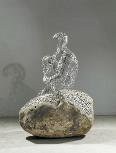 poésie,henri michaux,pensées,lointain intérieur,art,jaume plensa,sculpture,mots,lettres,matière,corps,méditation,silence
